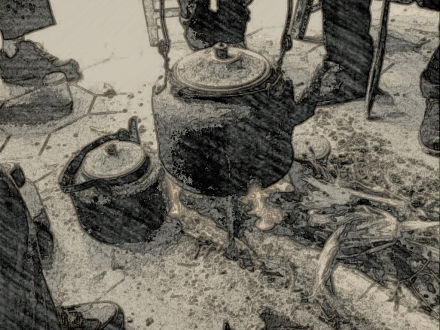 Calentando agua en el templo de Hǎi yún jū 海云居