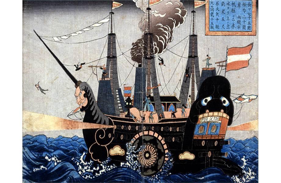 """Los barcos norteamericanos que llegaron a Japón eran llamados """"barcos negros"""" porque eran buques de vapor."""